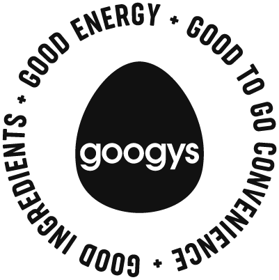 The words Good Ingredients + Good Energy + Good to go convenience in a circle around the Googys logo