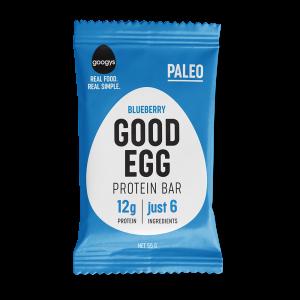 front of Googys Good Egg blueberry bar pack