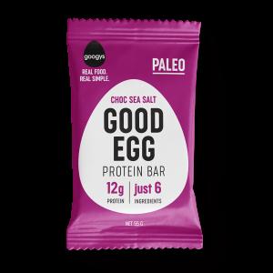 front of Googys Good Egg chock sea salt bar pack