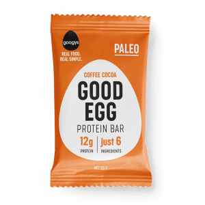 front of Googys Good Egg coffee cocoa bar pack