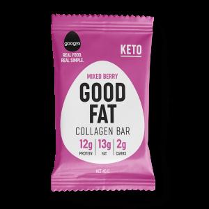 front of Googys Good Fat mixed berry bar pack
