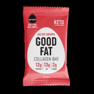 front of Googys Good Fat salted caramel bar pack