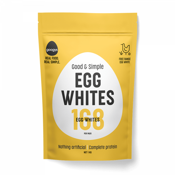 front of Googys good and simple egg whites pouch