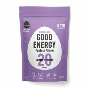 front of Googys 350g chocolate protein shake pouch
