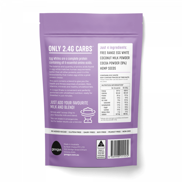 back of Googys 350g chocolate protein shake pouch