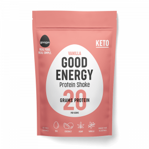 front of Googys 350g vanilla protein shake pouch