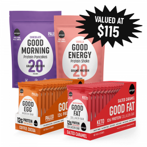 image showing chocolate pancake mix, vanilla shake pouch, good egg coffee cocoa 12 pack bars and good fat salted caramel bars 12 pack. Starburst saying valued at $115