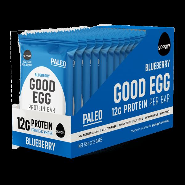 12 packs of Googys Good Egg Blueberry bars in a display box