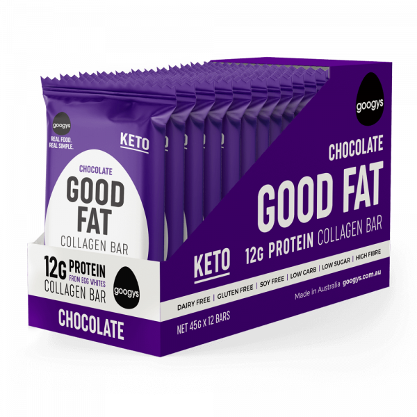 12 packs of Googys Good Fat Chocolate bars in a display box