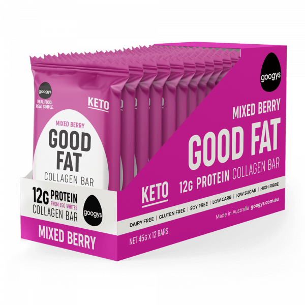 12 packs of Googys Good Fat Mixed Berry bars in a display box