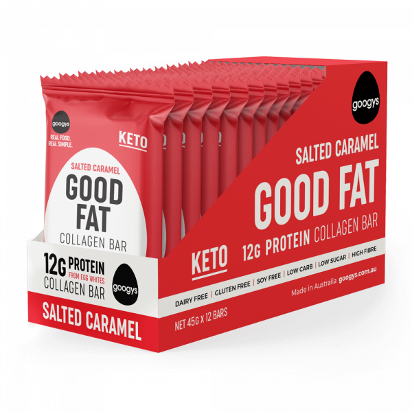 12 packs of Googys Good Fat Salted Caramel bars in a display box