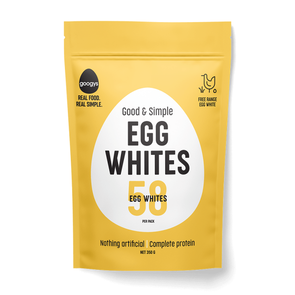 front of Googys good and simple egg whites pouch 350g