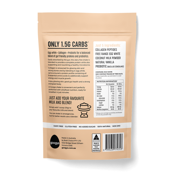 back of vanilla flavoured protein and probiotic shake pouch